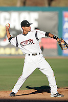 Jesus Lopez of the Lake Elsinore Storm during game against the Bakersfield Blaze at The Diamond in Lake Elsinore,California on July 25, 2010. Photo by Larry Goren/Four Seam Images