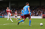 Danny Lafferty of Sheffield Utd takes a shot on goal during the English League One match at Glanford Park Stadium, Scunthorpe. Picture date: September 24th, 2016. Pic Simon Bellis/Sportimage