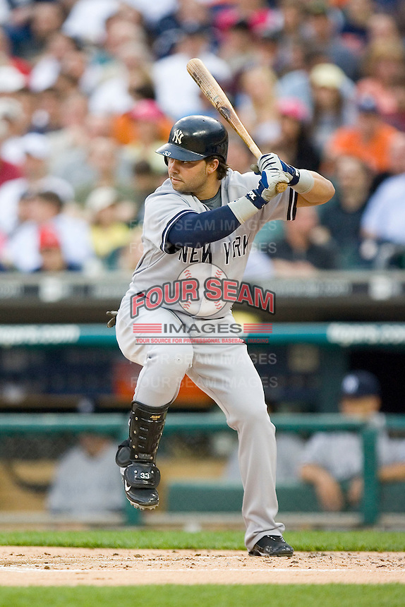 Nick Swisher #33 of the New York Yankees at bat versus the Detroit Tigers at Comerica Park April 27, 2009 in Detroit, Michigan.  Photo by Brian Westerholt / Four Seam Images