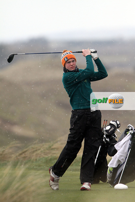 Rob Brazill (Rathsallagh) on the 8th tee during the Leinster Youths Amateur Open Championship in the European Club, Brittas Bay, Co.Wicklow. 27/3/13..(Photo Jenny Matthews/www.golffile.ie)