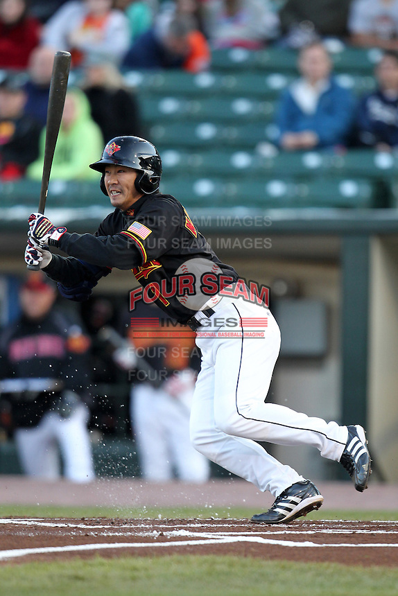 Rochester Red Wings infielder Tsuyoshi Nishioka #1 during a game against the Pawtucket Red Sox at Frontier Field on April 13, 2012 in Rochester, New York.  Pawtucket defeated Rochester 4-3.  (Mike Janes/Four Seam Images)
