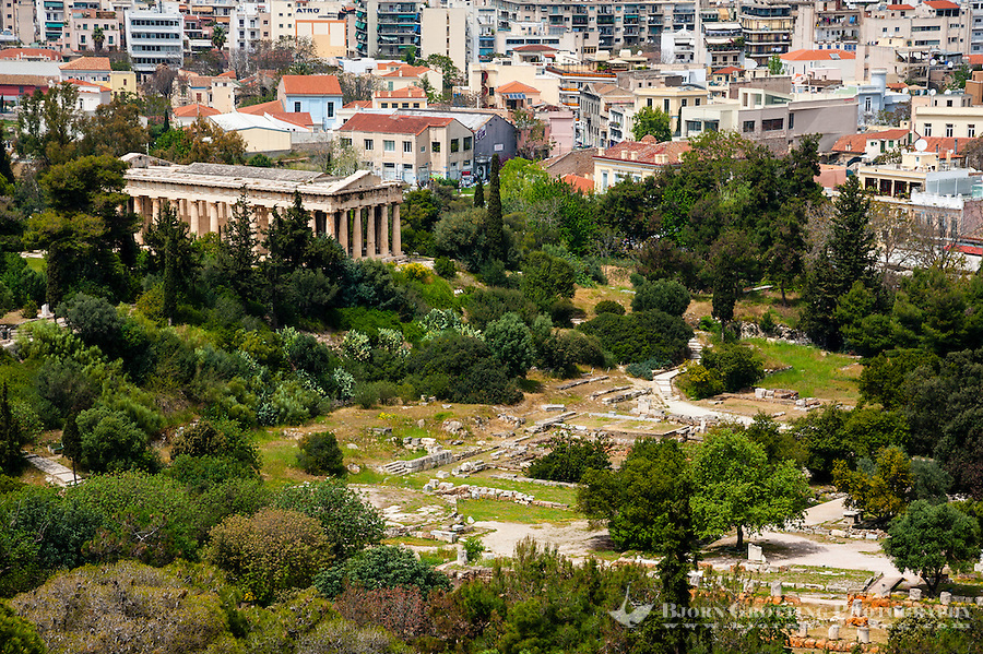 Athens, Greece. View from Areopagus below the Acropolis.  With the Temple of Hephaestus.