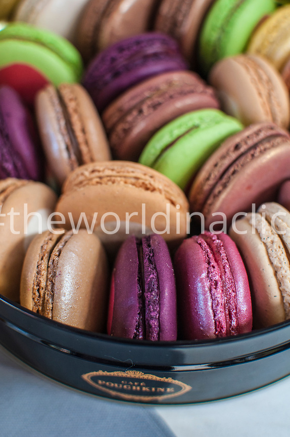 FRANCE, Paris, a close up on box filled with Macarons in Cafe Pouchkine