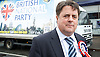 British National Party election manifesto launch for the May 3 London Assembly elections in East London, Great Britain <br /> 9th April 2012 <br /> <br /> <br /> Nick Griffin - chairman / leader of the BNP <br /> <br /> <br /> Photograph by Elliott Franks