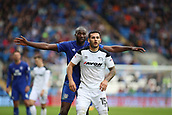 30th September 2017, Cardiff City Stadium, Cardiff, Wales; EFL Championship football, Cardiff City versus Derby County; Bradley Johnson of Derby County is closely marked by Sol Bamba of Cardiff City during a throwing