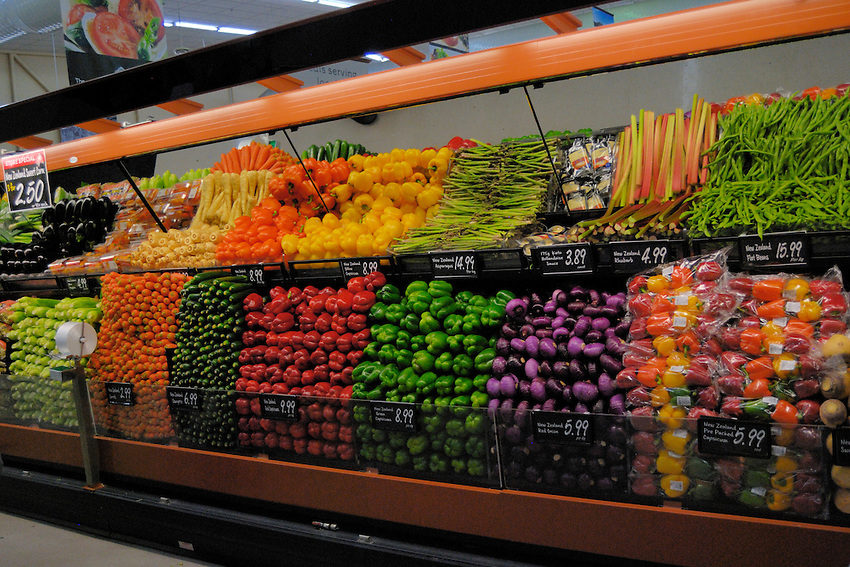 Vegetable display, New World Supermarket, Wellington, New zealand