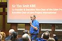 Belfast, Northern Ireland, 09 May 2019. IGFS Director Nigel Scollan,  the main speaker Sir Tim Smit at Riddel Hall, Belfast. Photo/Paul McErlane