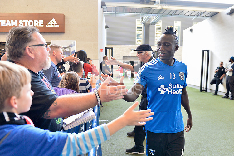 San Jose, CA - Wednesday August 29, 2018: Dominic Oduro, fans prior to a Major League Soccer (MLS) match between the San Jose Earthquakes and FC Dallas at Avaya Stadium.
