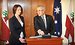 Julia Gillard, Prime Minister of Australia watches as Michel Sleiman, President of Lebanon, signs the visitors book at Parliament House, Canberra, on Monday April 16th 2012. AFP PHOTO / Mark GRAHAM POOL
