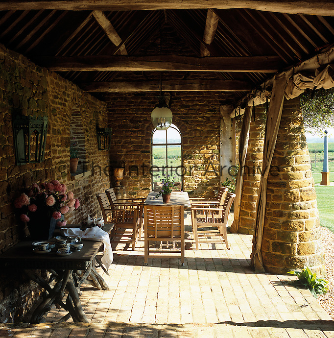 Once used to house cows this barn has been converted into an outdoor summer dining room
