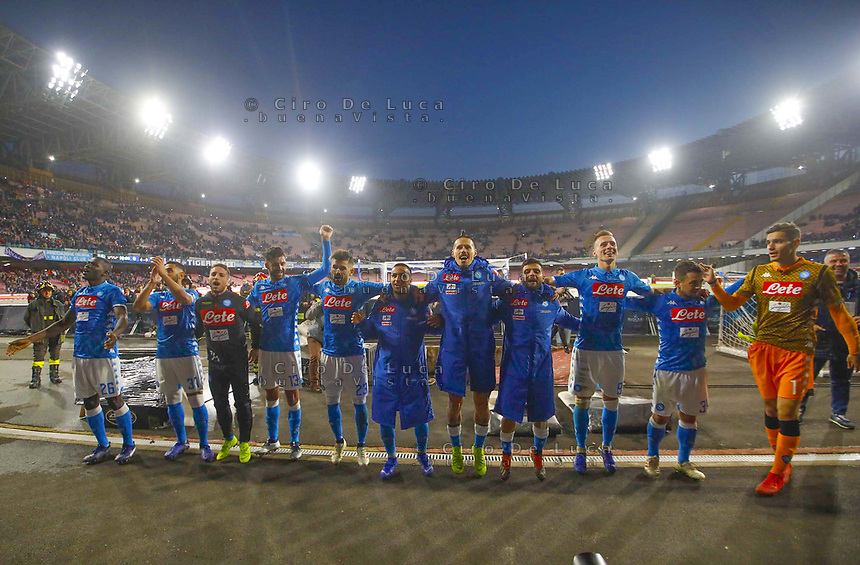 Player of Napoli at the end during the  italian serie a soccer match,  SSC Napoli - Frosinone       at  the San  Paolo   stadium in Naples  Italy , December 08, 2018