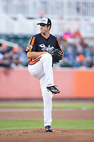 Aberdeen IronBirds starting pitcher Cameron Bishop (55) in action against the Hudson Valley Renegades at Leidos Field at Ripken Stadium on July 27, 2017 in Aberdeen, Maryland.  The IronBirds defeated the Renegades 3-0 in game two of a double-header.  (Brian Westerholt/Four Seam Images)