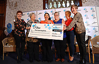 Wednesday 08 November 2017<br /> Re: Presentation of hospital catering syndicate win &pound;25m in Euromillions Jackpot at Hensol Castle, south Wales, UK. Julie Saunders, 56, Doreen Thompson, 56, Louise Ward, 37, Jean Cairns, 73, SIan Jones, 54 and Julie Amphlett, 50 all work as catering staff for Neath Port Talbot Hospital in south Wales.