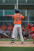 Baltimore Orioles Clay Fisher (28) bats during a Minor League Spring Training game against the Boston Red Sox on March 20, 2019 at the Buck O'Neil Baseball Complex in Sarasota, Florida.  (Mike Janes/Four Seam Images)
