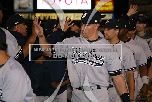 September 4, 2009:  Cody Ransom of the Scranton Wilkes-Barre Yankees celebrates after a game at Frontier Field in Rochester, NY.  Scranton is the Triple-A International League affiliate of the New York Yankees and clinched the North Division Title with a victory over Rochester.  Photo By Mike Janes/Four Seam Images