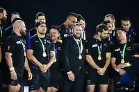 Tony Woodcock and the rest of the New Zealand team look on from the winners' podium. Rugby World Cup Final between New Zealand and Australia on October 31, 2015 at Twickenham Stadium in London, England. Photo by: Patrick Khachfe / Onside Images