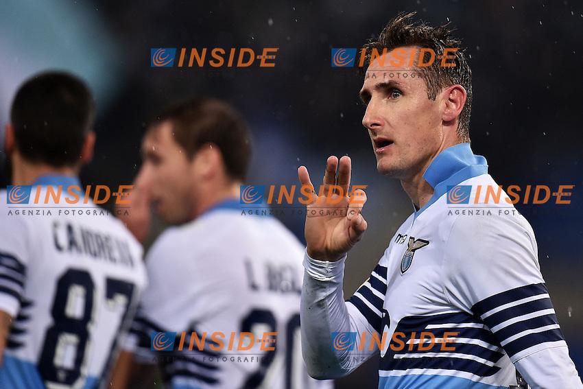 Esultanza Miroslav Klose Lazio dopo il gol 1-0 Goal celebration <br /> Roma 04-03-2015 Stadio Olimpico Football Calcio Coppa Italia Lazio - Napoli. Foto Andrea Staccioli / Insidefoto
