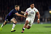 Manu Tuilagi of England in possession. Guinness Six Nations match between England and Scotland on March 16, 2019 at Twickenham Stadium in London, England. Photo by: Patrick Khachfe / Onside Images