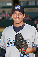 West Michigan Whitecaps pitcher Slade Smith #26 poses for a photo before a Midwest League game against the South Bend Silver Hawks at Coveleski Stadium on August 15, 2012 in South Bend, Indiana.  West Michigan defeated South bend 7-1.  (Mike Janes/Four Seam Images)