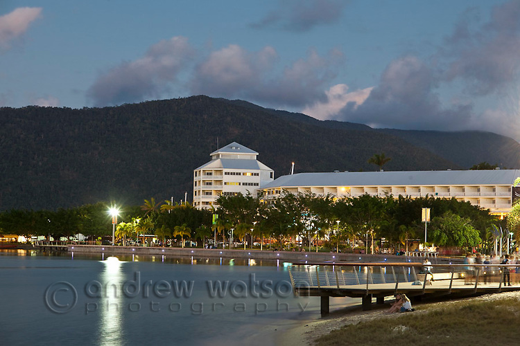 View along Esplanade with The Pier at the Marina in background.  Cairns, Queensland, Australia