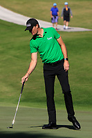 Sebastian Heisele (GER) on the 5th green during Round 1 of the Challenge Tour Grand Final 2019 at Club de Golf Alcanada, Port d'Alcúdia, Mallorca, Spain on Thursday 7th November 2019.<br /> Picture:  Thos Caffrey / Golffile<br /> <br /> All photo usage must carry mandatory copyright credit (© Golffile | Thos Caffrey)