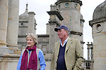Stamford, United Kingdom, 15th August 2019, Event Director Elizabeth Inman and Course Designer Captain Mark Phillips address the media on the roof of Burghley House during the media preview ahead of the 2019 Land Rover Burghley Horse Trials, Credit:Jonathan Clarke/JPC Images