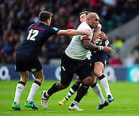 Nemani Nadolo of Fiji takes on the England defence. Old Mutual Wealth Series International match between England and Fiji on November 19, 2016 at Twickenham Stadium in London, England. Photo by: Patrick Khachfe / Onside Images