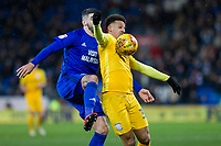 Callum Robinson of Preston North End protects the ball from Callum Paterson of Cardiff City during the Sky Bet Championship match between Cardiff City and Preston North End at the Cardiff City Stadium, Cardiff, Wales on 29 December 2017. Photo by Mark  Hawkins / PRiME Media Images.