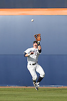 Austin Diemer #22 of the Cal State Fullerton Titans waits under a fly ball during a game against the Washington State Cougars at Goodwin Field on  February 15, 2014 in Fullerton, California. Washington State defeated Fullerton, 9-7. (Larry Goren/Four Seam Images)