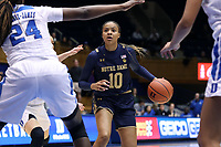 DURHAM, NC - JANUARY 16: Katlyn Gilbert #10 of Notre Dame University drives the lane with the ball during a game between Notre Dame and Duke at Cameron Indoor Stadium on January 16, 2020 in Durham, North Carolina.