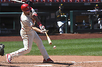 25th July 2020, St Louis, MO, USA;  St. Louis Cardinals first baseman Paul Goldschmidt (46) singles in the seventh inning during a Major League Baseball game between the Pittsburgh Pirates and the St. Louis Cardinals
