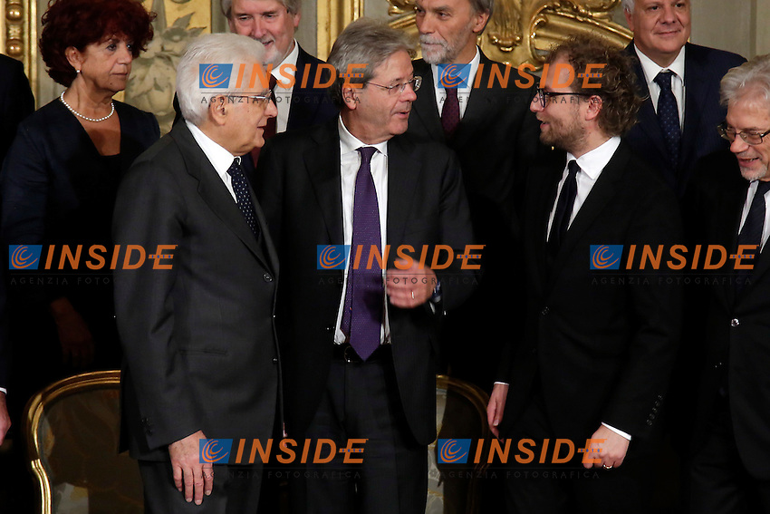 Sergio Mattarella, Paolo Gentiloni e Luca Lotti<br /> Roma 12-12-2016. Quirinale Cerimonia del giuramento die Ministri<br /> Rome December 12th 2016. Swearing ceremony of the new Government<br /> Foto Samantha Zucchi Insidefoto