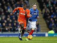 Blackpool's Donervon Daniels competing with Portsmouth's Ronan Curtis<br /> <br /> Photographer Andrew Kearns/CameraSport<br /> <br /> The EFL Sky Bet League One - Portsmouth v Blackpool - Saturday 12th January 2019 - Fratton Park - Portsmouth<br /> <br /> World Copyright © 2019 CameraSport. All rights reserved. 43 Linden Ave. Countesthorpe. Leicester. England. LE8 5PG - Tel: +44 (0) 116 277 4147 - admin@camerasport.com - www.camerasport.com