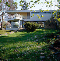 The upper terrace was designed by Hans Scharoun to project into the landscape like the prow of a ship