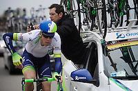 Paris-Roubaix winner (only 3 days earlier) Mathew Hayman (AUS/Orica-GreenEDGE) is given a new race radio along the way<br /> <br /> 56th De Brabantse Pijl - La Fl&egrave;che Braban&ccedil;onne (1.HC)