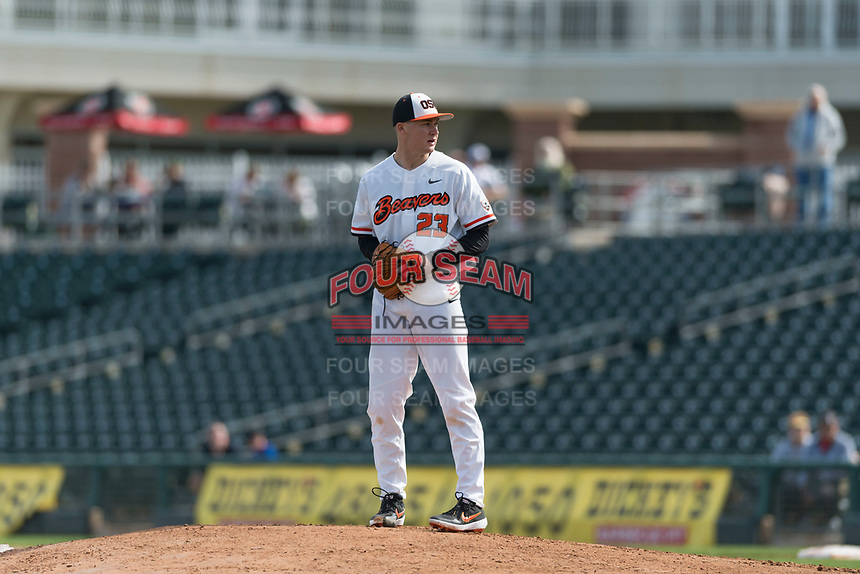 Oregon State Beavers starting pitcher Kevin Abel (23) during a game against the New Mexico Lobos on February 15, 2019 at Surprise Stadium in Surprise, Arizona. Oregon State defeated New Mexico 6-5. (Zachary Lucy/Four Seam Images)