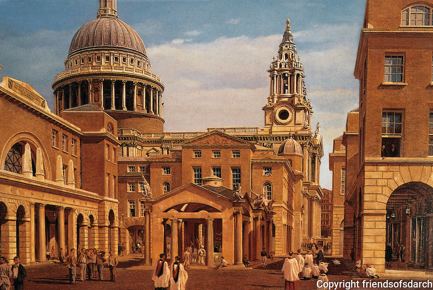 London:  Paternoster Schemes.  John Simpson (B. 1954).   Classical Revival Scheme endorsed by H.R. H.  Painted by Carl Laubin. Reference only.