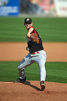 Batavia Muckdogs pitcher Kyle Keller (35) delivers a pitch during a game against the Auburn Doubledays on September 7, 2015 at Falcon Park in Auburn, New York.  Auburn defeated Batavia 11-10 in ten innings.  (Mike Janes/Four Seam Images)
