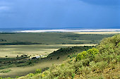 Maasai Mara, Kenya. Overview of the National Park in the Great Rift Valley with open plains and highlands.