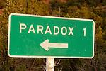 Direction sign to Paradox, 1, Colorado.