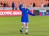 HOUSTON, TX - JANUARY 28: Becky Sauerbrunn #4 of the United States waves to fans during a game between Haiti and USWNT at BBVA Stadium on January 28, 2020 in Houston, Texas.