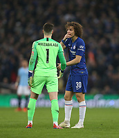 Chelsea's David Luiz gives advice to Kepa Arrizabalaga who was refusing to be substituted<br /> <br /> Photographer Rob Newell/CameraSport<br /> <br /> The Carabao Cup Final - Chelsea v Manchester City - Sunday 24th February 2019 - Wembley Stadium - London<br />  <br /> World Copyright © 2018 CameraSport. All rights reserved. 43 Linden Ave. Countesthorpe. Leicester. England. LE8 5PG - Tel: +44 (0) 116 277 4147 - admin@camerasport.com - www.camerasport.com