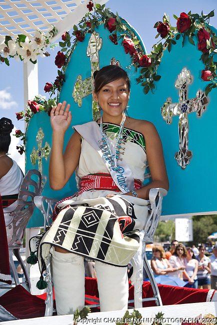 Each year a young woman is elected to portray the Indian Pricess at the Santa Fe Fiesta held in September on the city plaza.