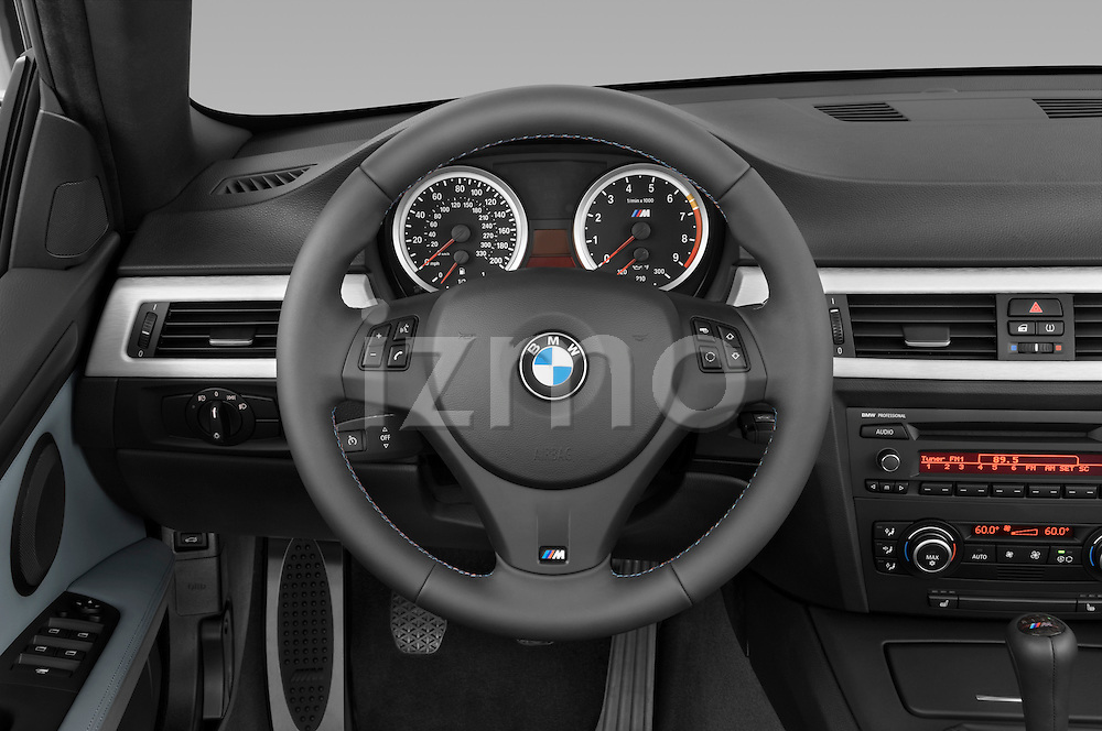 Steering wheel view of a 2008 BMW M3 Convertible