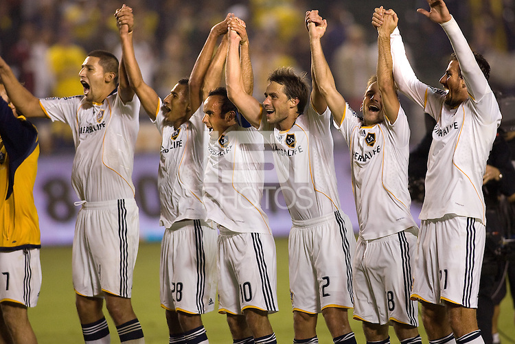 LA Galaxy players salute their fans after the match. The LA Galaxy defeated Chivas USA 1-0 and win the playoff series during a MLS Western Conference playoff game at Home Depot Center stadium in Carson, California on Sunday November 1, 2009...
