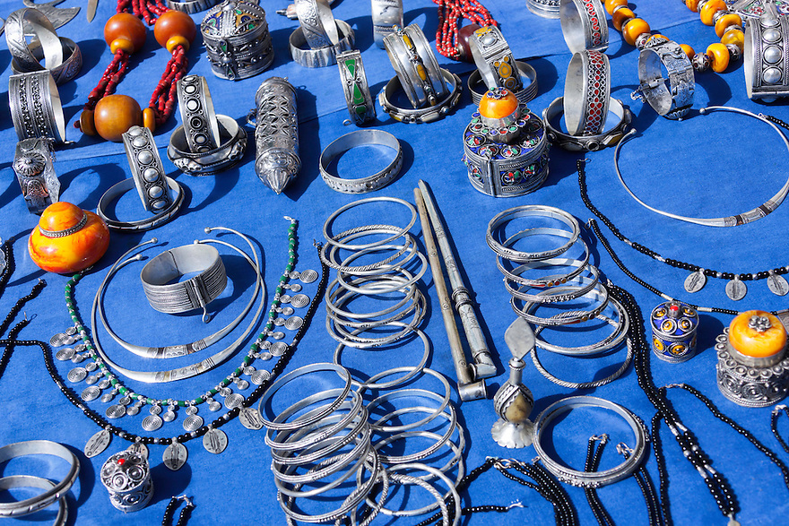 Silver jewelry in the medina of Chefchaouen, Morocco.