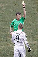 Spanish referee Fernandez Borbalan show yellow card to Real Madrid's Toni Kroos during La Liga match.February 7,2015. (ALTERPHOTOS/Acero) /NORTEphoto.com