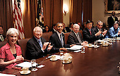 United States President Barack Obama hosts a Cabinet meeting in the Cabinet Room of the White House in Washington D.C., Wednesday, September 15 2010.  Pictured from left to right: U.S. Secretary of Health and Human Services Kathleen Sebelius;  U.S. Secretary of Interior Ken Salazar; President Obama; U.S. Secretary of Defense Robert Gates; U.S. Secretary of Commerce Gary Locke; U.S. Secretary of Transportation Ray LaHood; and U.S. Secretary of Homeland Security Janet Napolitano..Credit: Olivier Douliery / Pool via CNP