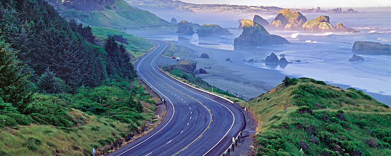 Cape Sebastian with road at sunrise. Oregon.