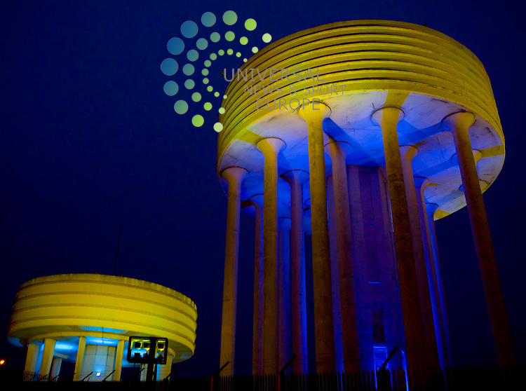Garthamlock Water Towers in the east end of Glasgow are lit up, on 14th September 2009 two days ahead of the official switching on ceremony and look more like something out of War of the Worlds..Picture: Peter Kaminski/Universal News and Sport (Scotland)